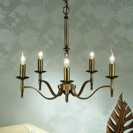 Stanford Brass 5 Light Chandelier - New Classics Interiors 1900 Lighting