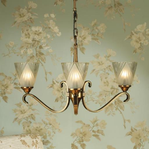 Columbia Brass 3 Light Chandelier Deco Art Glass Shades - New Classics Interiors 1900 Lighting