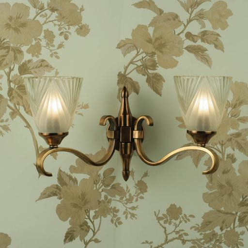Columbia Brass Double Wall Light Deco Art Glass Shades - New Classics Interiors 1900 Lighting