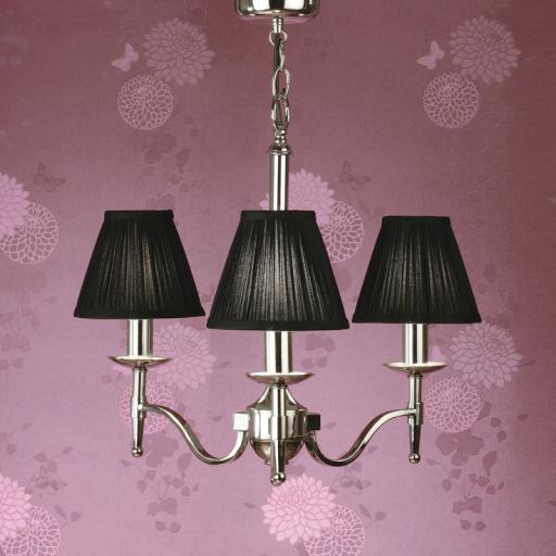 Stanford Nickel 3 Light Chandelier Black Shades - New Classics Interiors 1900 Lighting