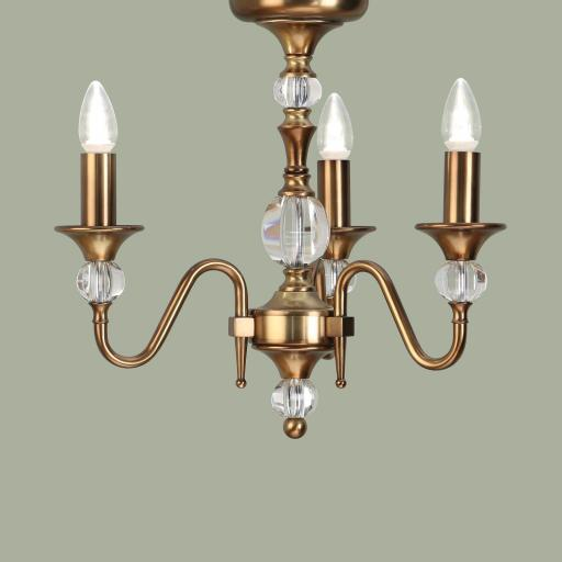 Polina Brass 3 Light Chandelier - New Classics Interiors 1900 Lighting