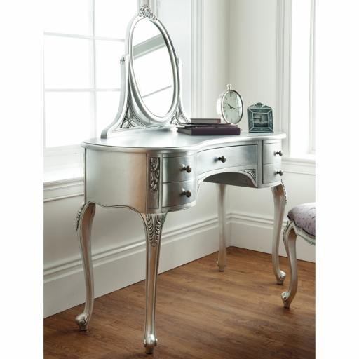 Rococo Silver Leaf Dressing Table - Winsor Furniture WR8WS