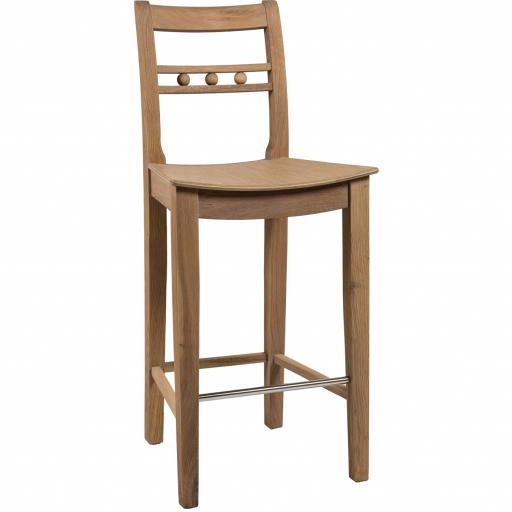 Suffolk High Back Oak Bar Stool - Neptune Furniture