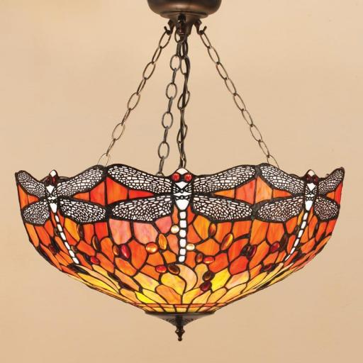 Dragonfly Flame Large Inverted Pendant - Interiors 1900 Tiffany Light