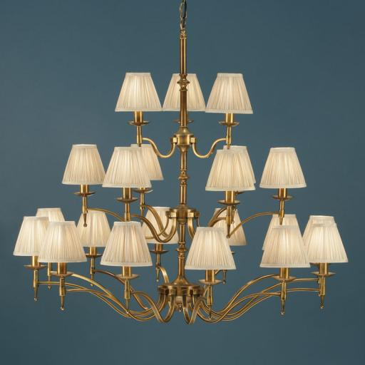 Stanford Brass 21 Light Chandelier Beige Shades - New Classics Interiors 1900 Lighting