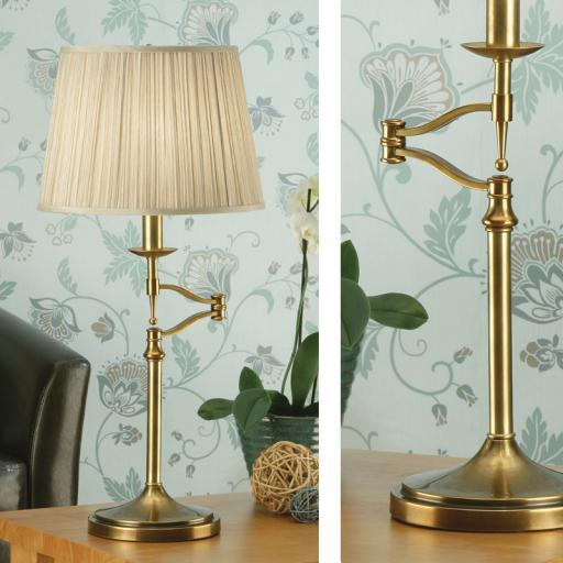 Stanford Brass Swing Arm Table Lamp Beige Shades - New Classics Interiors 1900 Lighting