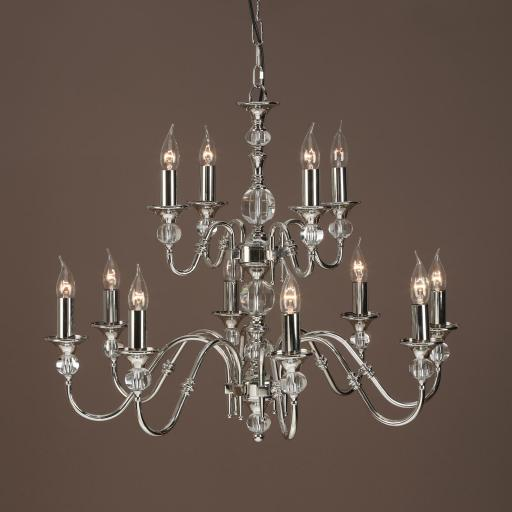 Polina Nickel 12 Light Chandelier - New Classics Interiors 1900 Lighting