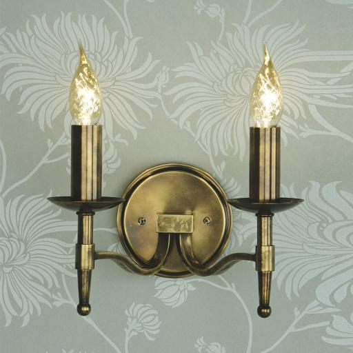 Stanford Brass Double Wall Light - New Classics Interiors 1900 Lighting