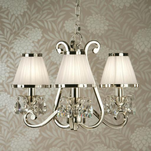 Oksana Nickel 3 Light Chandelier with White Shades - New Classics Interiors 1900 Lighting