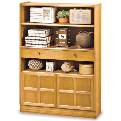 Nathan Furniture 6424 Medium Bookcase with Doors - Classic Teak Range