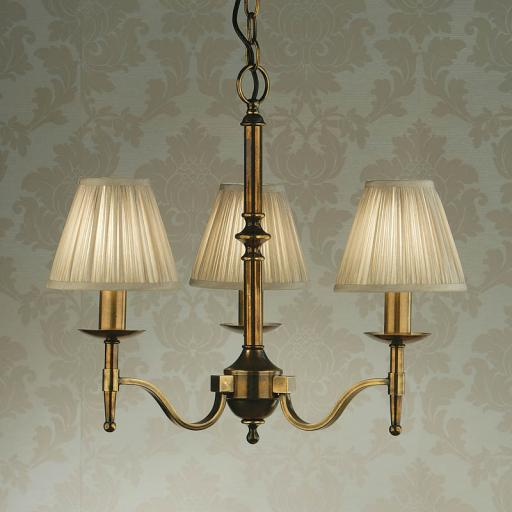 Stanford Brass 3 Light Chandelier Beige Shades - New Classics Interiors 1900 Lighting
