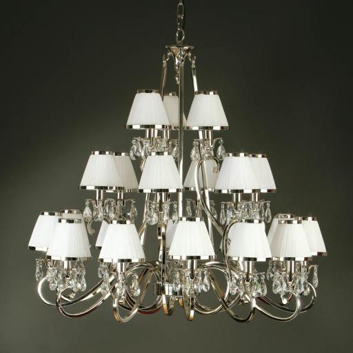 Oksana Nickel 21 Light Chandelier with White Shades - New Classics Interiors 1900 Lighting