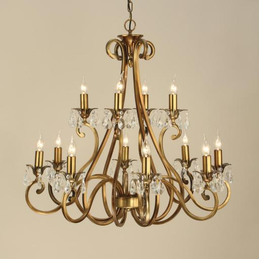 Oksana Brass 12 Light Chandelier - New Classics Interiors 1900