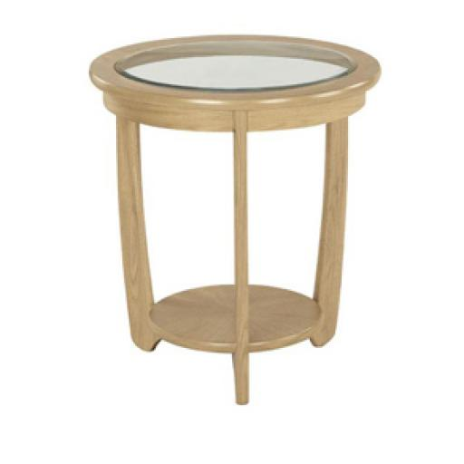 5815 Glass Top Round Lamp Table - Nathan Furniture - Shades Oak - Occasions Oak