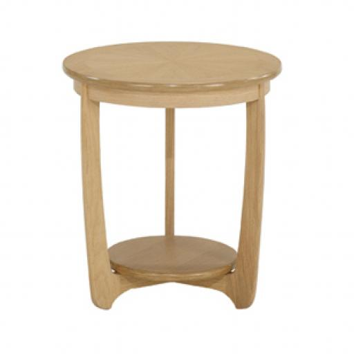 5345 Large Sunburst Top Round Lamp Table - Nathan Furniture - Shades Oak