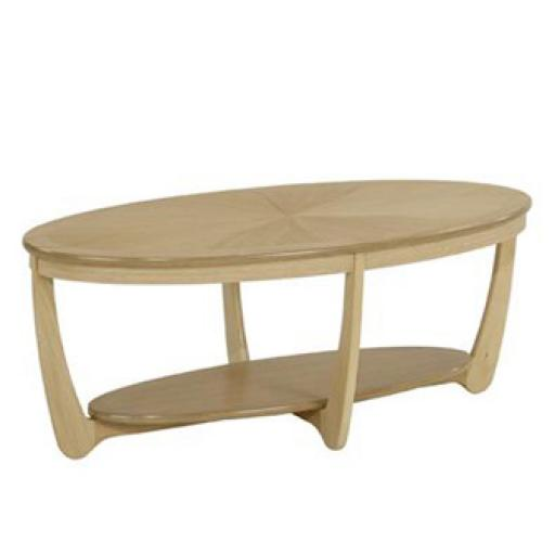 5845 Sunburst Top Oval Coffee Table - Nathan Furniture - Shades Oak - Occasions Oak