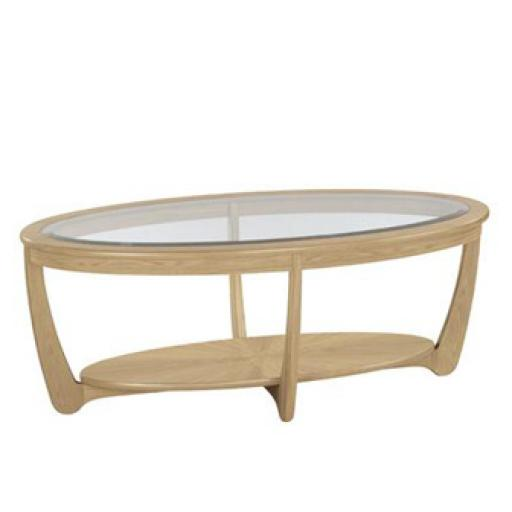 5835 Glass Top Oval Coffee Table - Nathan Furniture - Shades Oak - Occasions Oak