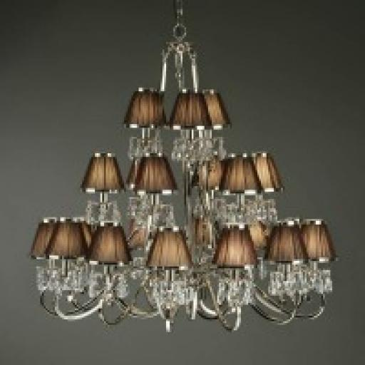 Stanford Nickel 21 Light Chandelier Chocolate Shades - New Classics Interiors 1900 Lighting