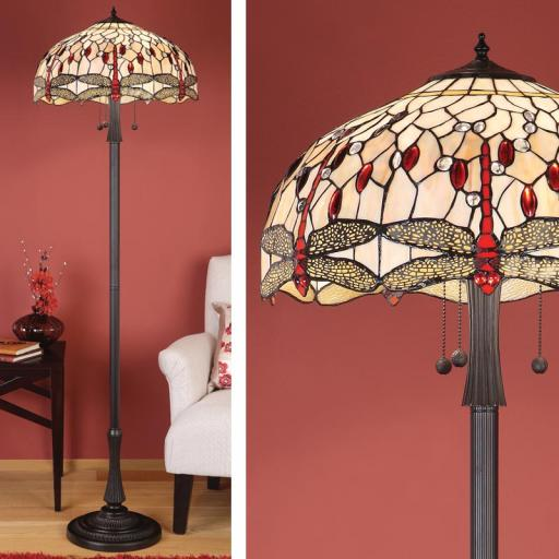 Dragonfly Beige Floor Lamp - Interiors 1900 Tiffany Light