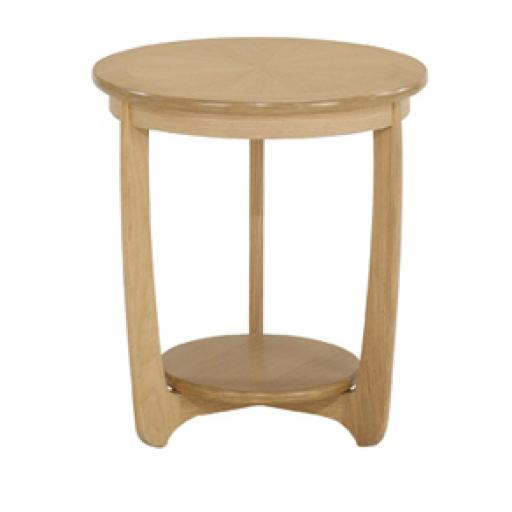 5825 Sunburst Top Round Lamp Table - Nathan Furniture - Shades Oak - Occasions Oak