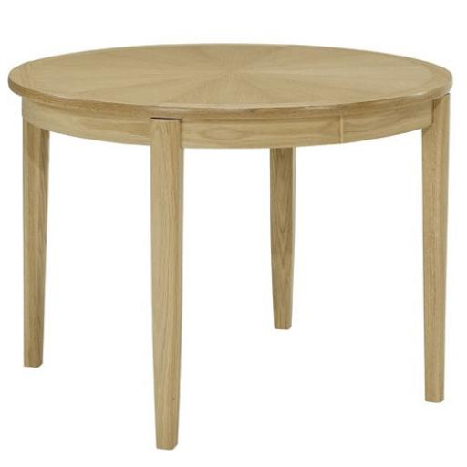 2905 Circular Dining Table on Legs with Sunburst Top - Nathan Furniture - Shades Oak