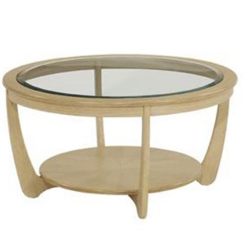 5915 Glass Top Round Coffee Table - Nathan Furniture - Shades Oak - Occasions Oak