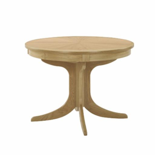2165 Circular Pedestal Dining Table with Sunburst Top - Nathan Furniture - Shades Oak