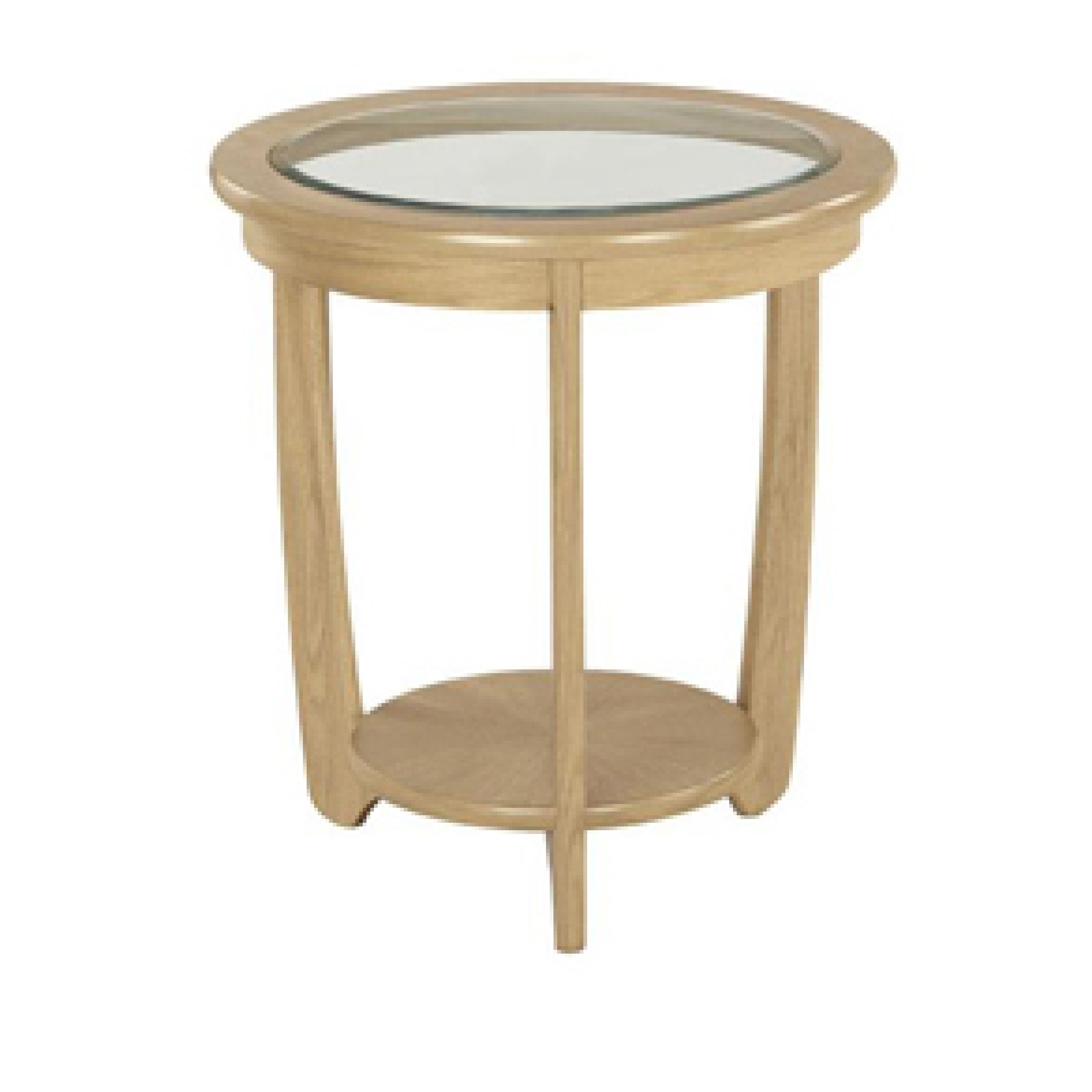 5815 Glass Top Round Lamp Table Nathan Shades Oak Furniture