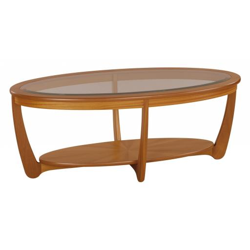 Nathan Furniture 5834 Glass Top Oval Coffee Table- Nathan Shades Furniture