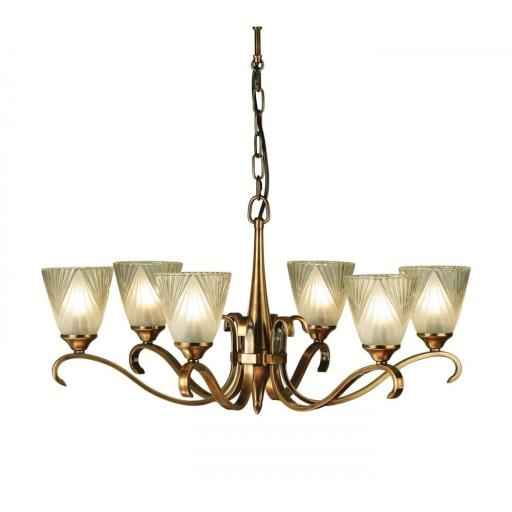 Columbia Brass 6 Light Chandelier Deco Art Glass Shades - New Classics Interiors 1900 Lighting