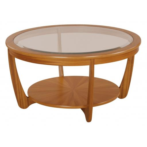 Nathan Furniture 5914 Sunburst Top Round Coffee Table - Nathan Shades Furniture