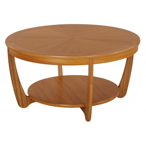 Nathan Furniture 5924 Sunburst Top Round Coffee Table - Nathan Shades Furniture