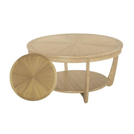 5925 Sunburst Top Round Coffee Table - Nathan Furniture - Shades Oak - Occasions Oak