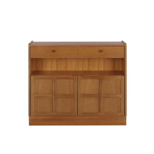 Nathan Furniture 6444 Low Bookcase with Doors - Classic Teak Range