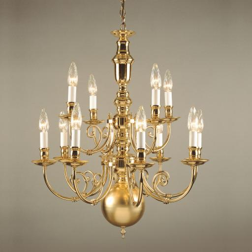Beveren 12 Light Brass Chandelier BF19700/12 - Impex Lighting