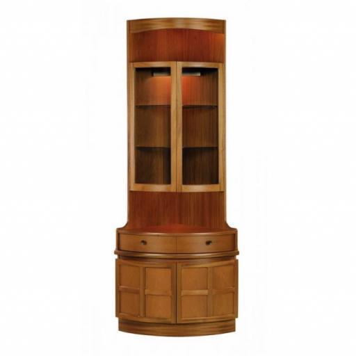 Nathan Furniture 4164 Bow Front Corner Cabinet - Classic Teak Range