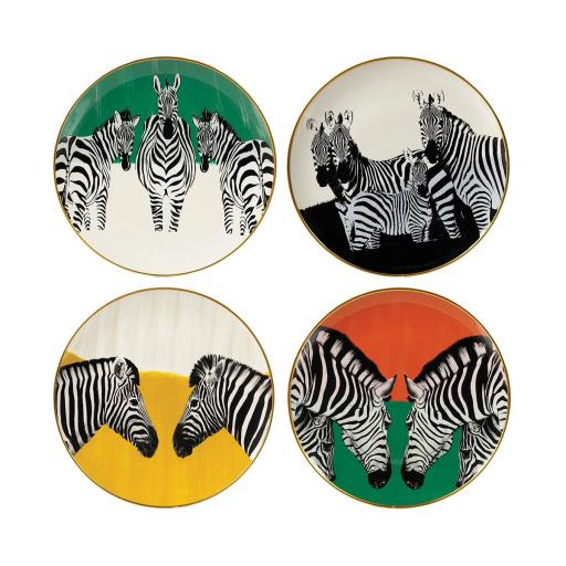 Zebra Plates Set / 4 (MY078) - Mindy Brownes