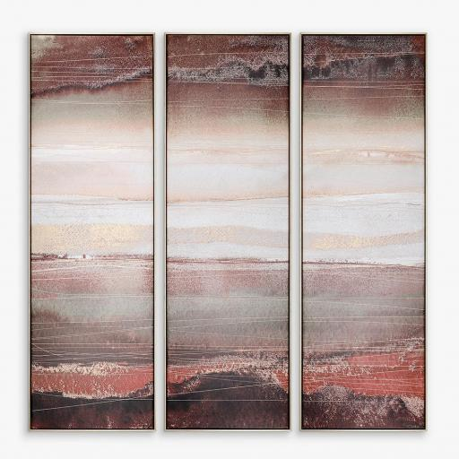 Adelene Fletcher - Heatwave Triptych Framed Canvas, 122 x 122cm, Brown/Multi