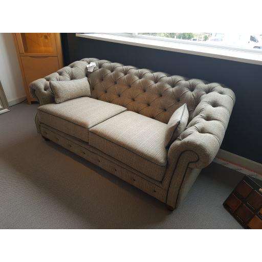 Wood Bros Old Charm Deepdale Medium Sofa in Moon Check Topaz Wool - Showroom Clearance