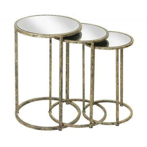 Mirror Top Nest of tables (set of 3) TF015 - Mindy Brownes Furniture