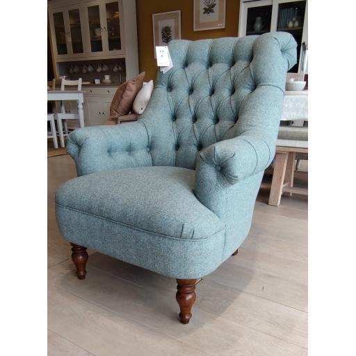 Wood Bros Old Charm PKG1400 Pickering Armchair in Moon Fabrics Tweed Mint Woollen - Showroom Clearance